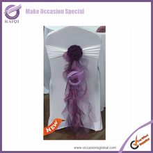 YT07038 made in china flower event organza decoration chair cover sashes