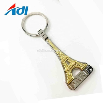 Factory custom France Eiffel Tower souvenir metal keychain