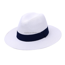Promotional Cheap Natural Straw Fedora Hats Custom Logo Straw Hats