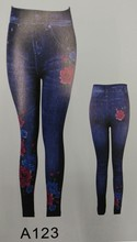 Spandex Blue Multi Colored Leggings