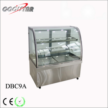 commercial stainless steel display cake refrigerating showcase with LED lighting