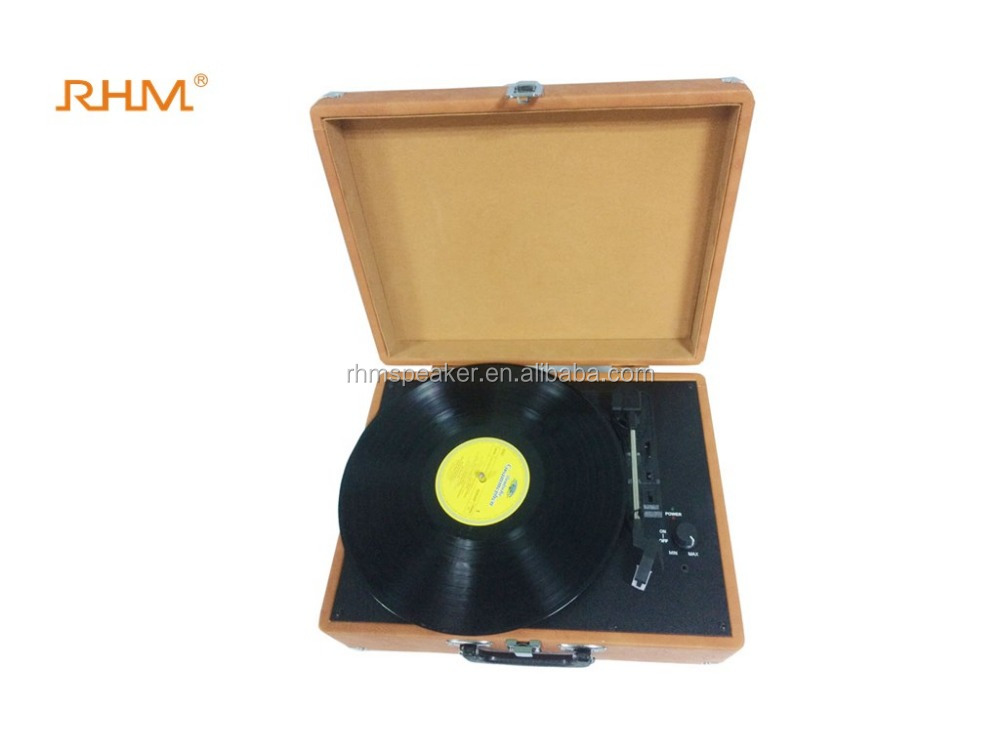 Belt-Drive 3-Speed Portable Stereo Turntable record player with Built in Speakers, Supports