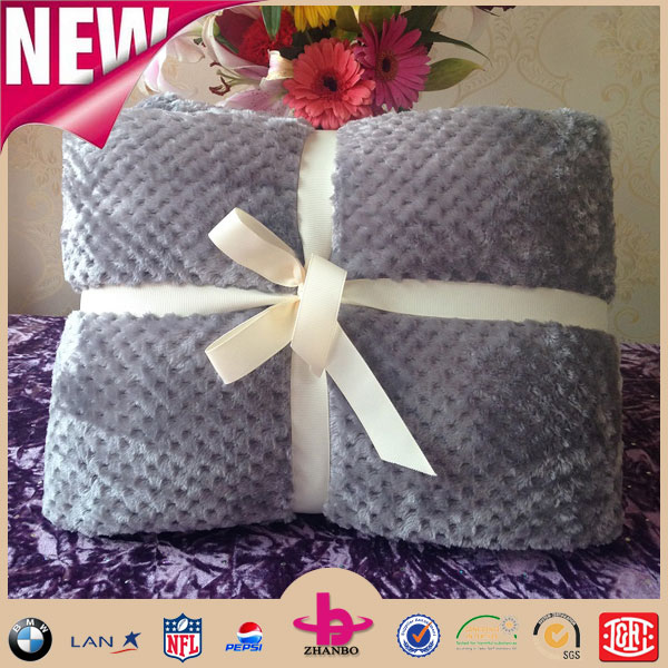 China factory Grey Color Super Soft Queen Size Mink Raschel Cheap Price Thick Flannel Fleece Blanket in Bulk
