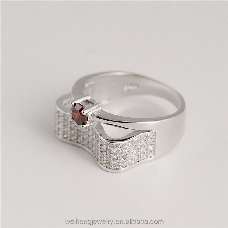 manufacturer costume dubai jewellery 925 sterling silver red color stone cubic zircon rings yaqoot ring