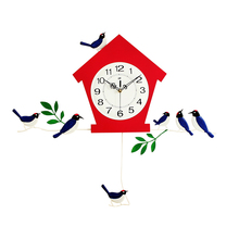 DIY Bird Painting Pendulum Wall Clocks MDF Funny Design