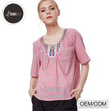 women blouse sample neck design 100% cotton embroidered ladies blouse model