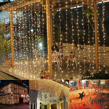 Xmas Outdoor Lights 300 LED Curtain Lights Christmas String Lights for Indoor Lawn Garden Home Party Decoratio HNL099