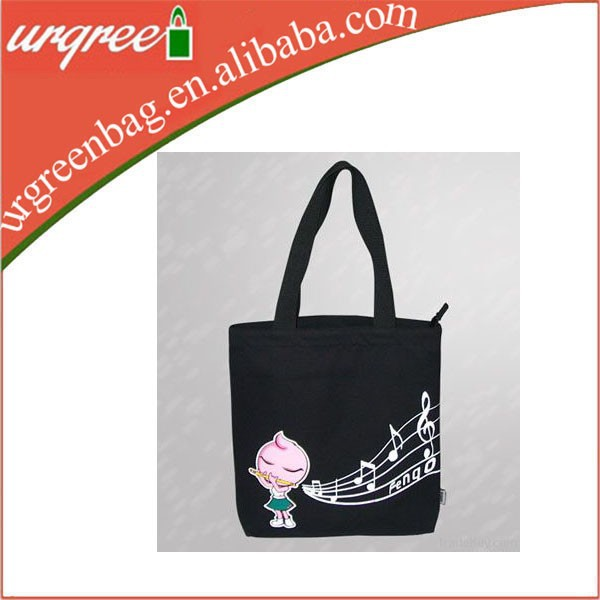 Black cotton tote woman bag