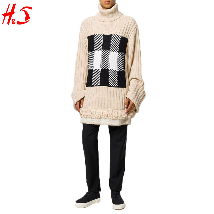 Import Export Company Wholesale New Fashion Men's Long Check Pullover Sweater