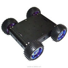 Black 4 wd chassis smart car kit cross country robot car chassis aluminum alloy electric car kit
