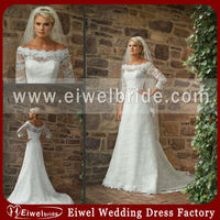 M348 New Women Modest Half Sleeve Lace Appliques Elegant White Wedding Dress