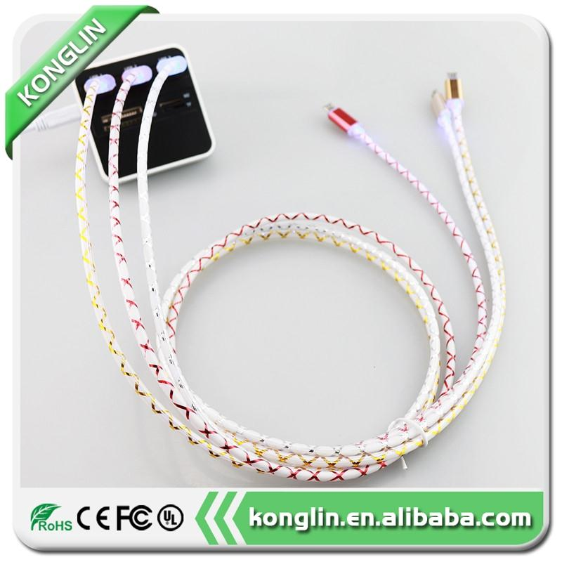 Newly micro usb cable cord data sync cable,led usb charging cable for Android Phone