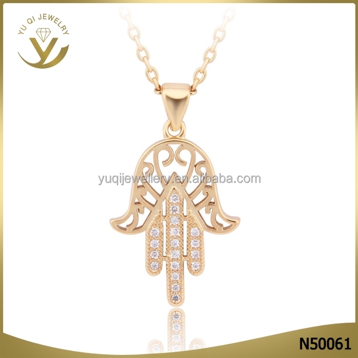 Latest wedding 18K white gold hollow charm pendants jewellery wholesale chain necklaces design