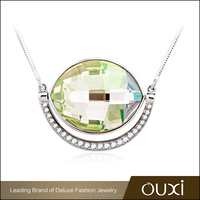 OUXI lastest design gemstone handmade crystal silver jewelry necklace Y10081