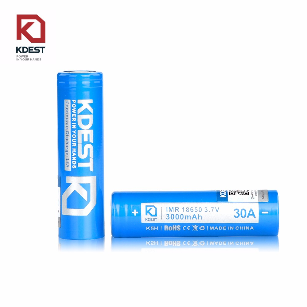 Kdest K5H 18650 3000mAh 30A Battery PK LG HE4 Yellow Rechargeable Battery