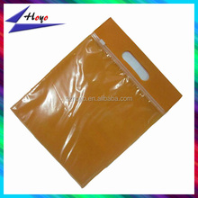 Zipper closing packing plastic bags with hanger for garments