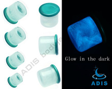 Glow in dark earrings gauges jewelry pyrex glass piercing