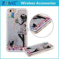 free samples 2015 mobile phone accessories 3D sexy girl moving quicksand liquid mobile phone case for iPhone 6