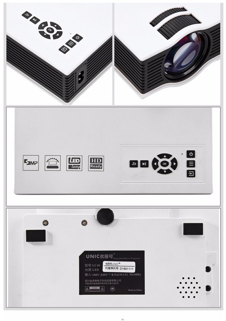 1chip UC40+ projector Manual Focus Lens 800*480 resolution handy projector