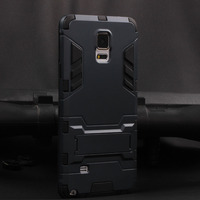 luxury cell phone tough kick stand back cover for Samsung galaxy note 4 hybrid hard armor case