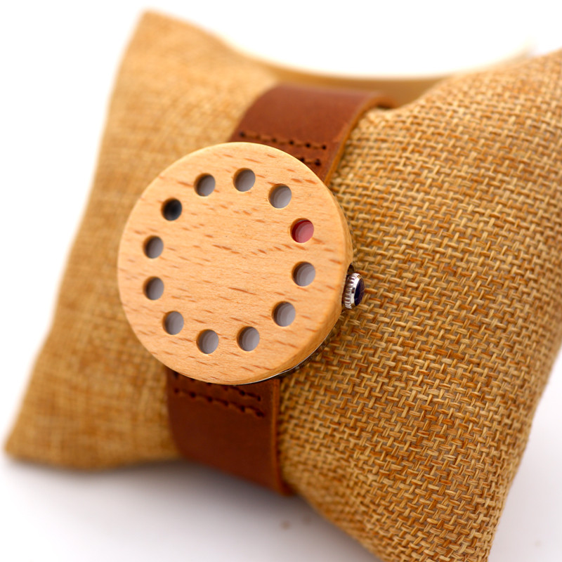 Custom your own logo wood watch with genuine leather strap