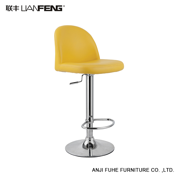Wholesale funky yellow leather back bar stools with rotate freely