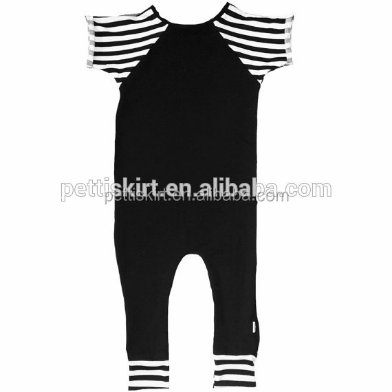 Boutique One Piece Black Knit Cotton Baby Romper Infant Short Sleeve Romper