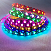 DC 5V 30/60/144 leds per meter Black PCB WS2812B magic digital dream color rgb led strip