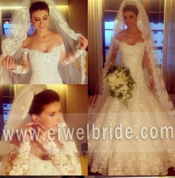 Sexy off shoulder long sleeves lace heavy beaded wedding dress