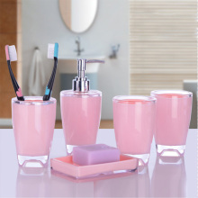 Manufacturer hot selling high quality pink acrylic bathroom accessories set