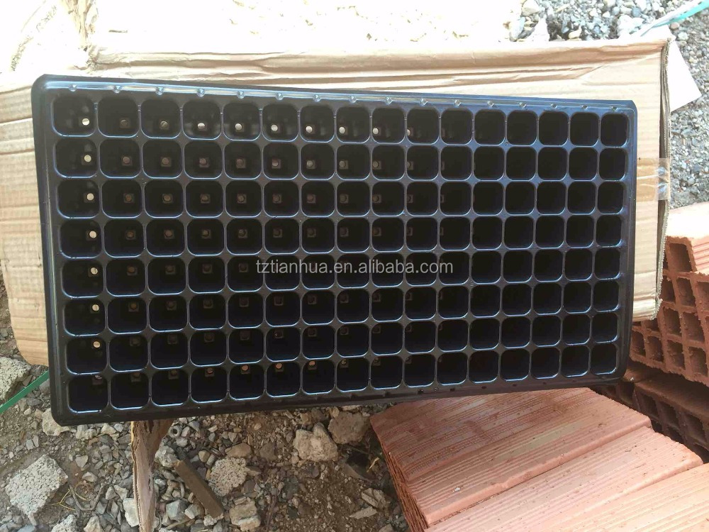 Hot Selling Cheap Price 98 cells plastic seed tray for greenhouse, black planter nursery seedling trays