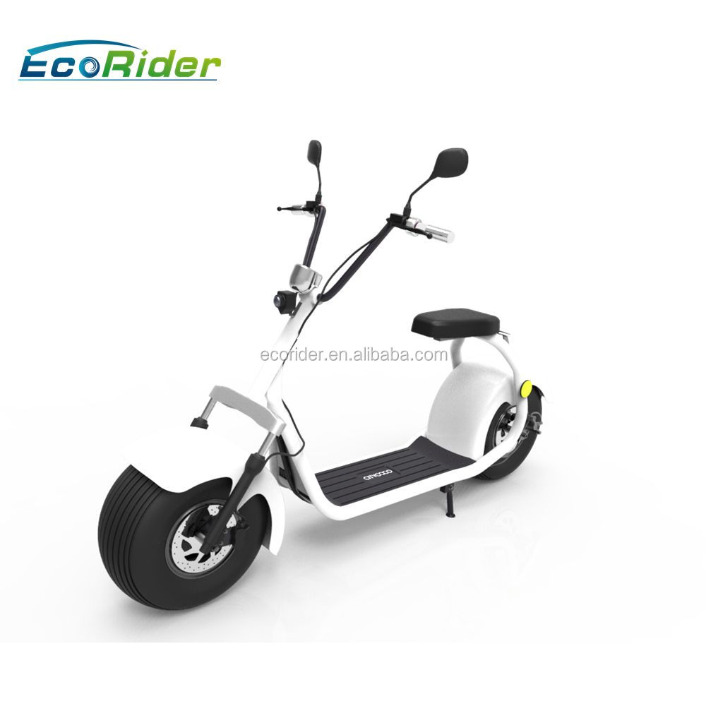 EcoRider LT019 EEC Certificate 18 inch fat tires citycoco with double seat and mirrors, two wheel electric scooter for adult