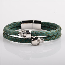 China Wholesale Hot Sale Women Mens Stainless Steel Wrap Double Leather Animal Sex Bracelet