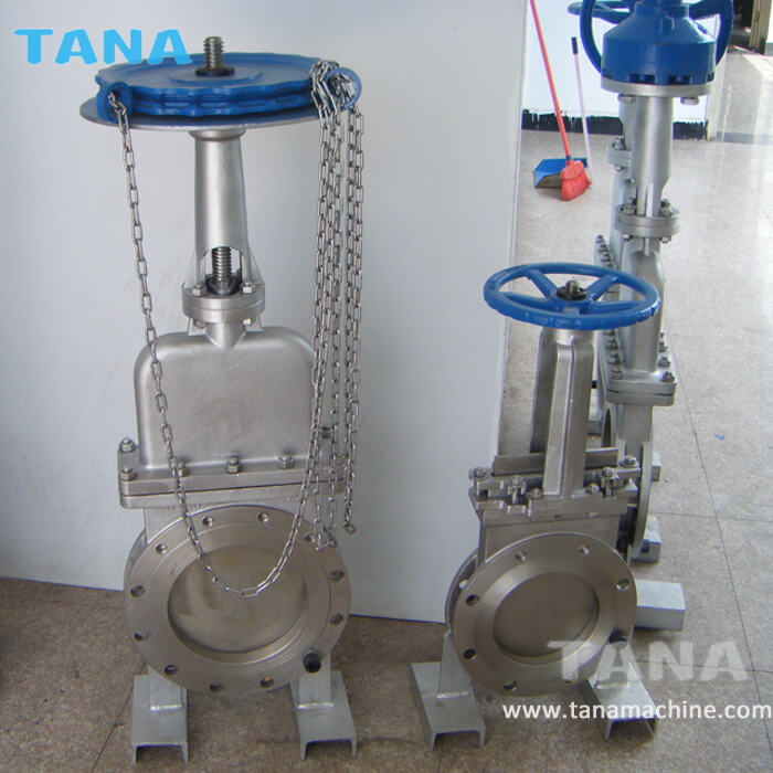 Chain wheel operated non-rising stem bonnet knife gate valve