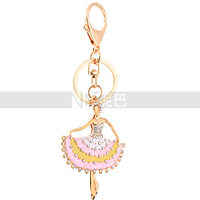 Elegance Ballerina Beautiful Keychain Handbag Rhinestone Charms Pendant for Women Girls