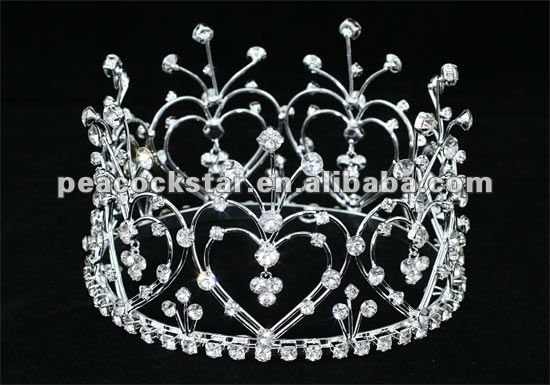 Wholesale Bridal Heart Crystal Rhinestone Mini Tiara Full Circle Crown CT1598