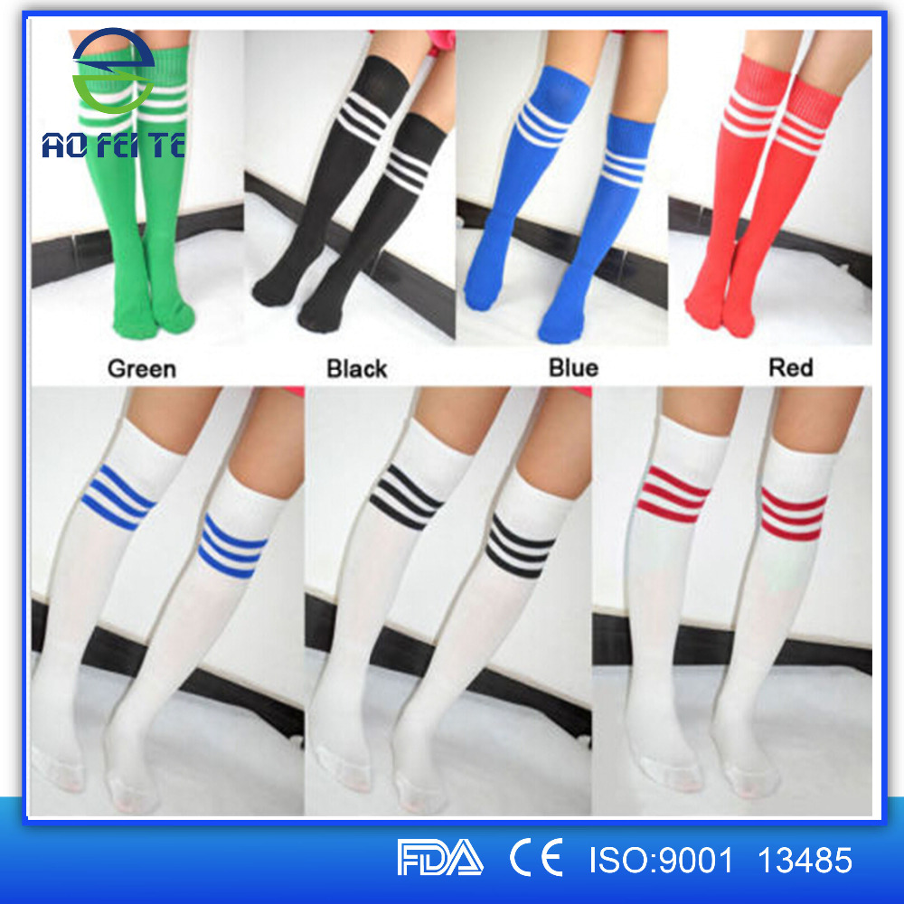 Hot Selling 2015 Aofeite Unisex Athletic Knee High Socks Bright Color with Triple Stripes