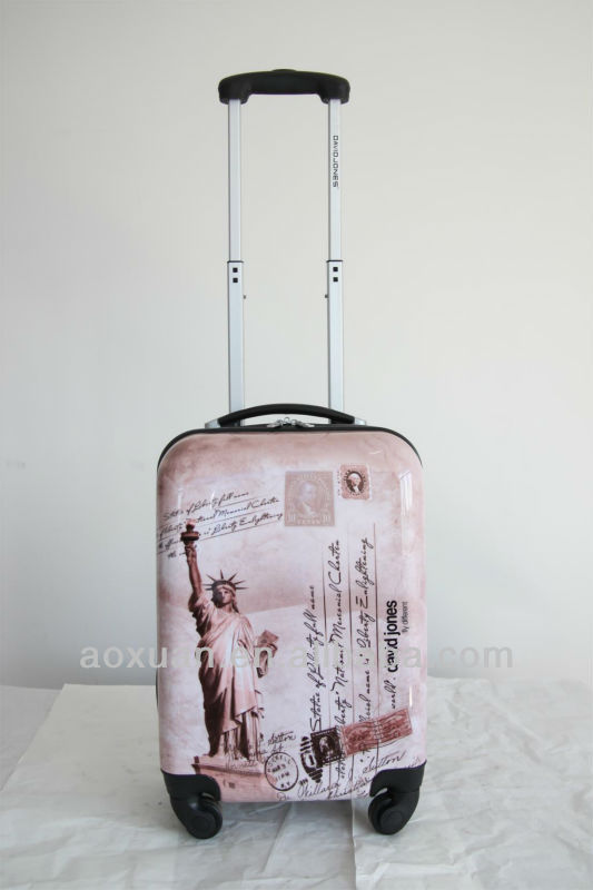 luggage case 2014 Hot selling ABS+PC film printing trolley luggage