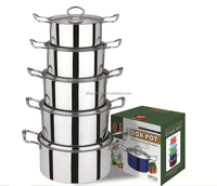 SZB-1004 5 Pcs Stainless Steel Enamel Single bottom Cookware Set with S.S. Cover