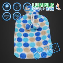 soft fabric warm natural rubber hot water bottle with cover