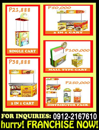FOOD CART FRANCHISE FOR AS LOW AS P21,888K ONLY!