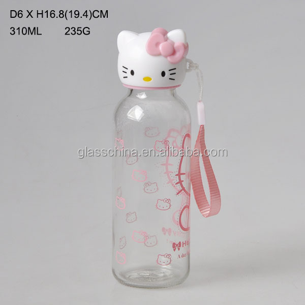 11OZ GLASS TRAVELING BOTTLE WITH printing and plastic lid