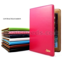 Kakusiga Pure Color Stand Genuine Leather Flip Case Cover For iPad Air 2/iPad 6 with Elastic Belt