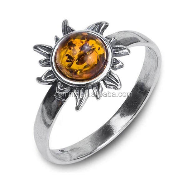 New fashion tiger eye stone 925 sun silver jewelry ring wholesale for women OSSR0693