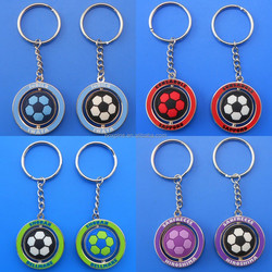 Promotional rotate key chains/rings round metal keychain
