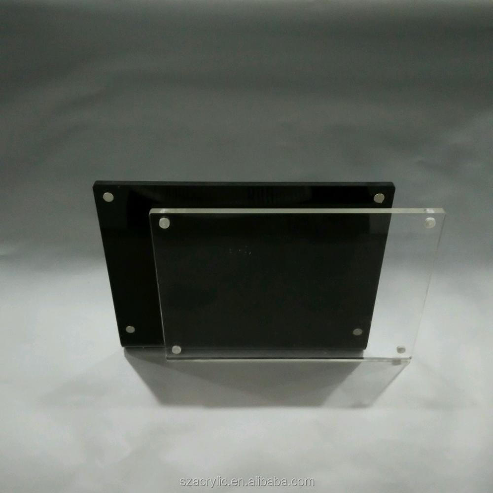 Black acrylic picture frames L shape photo display frame