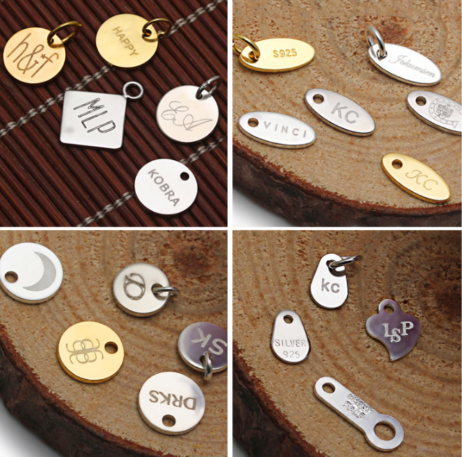 Gold plated color 925 sterling silver 6mm round plate custom logo charms