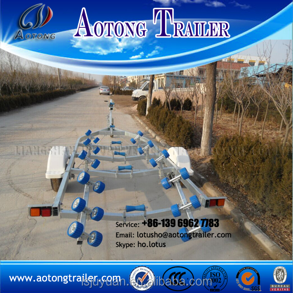 China manufacturer Galvanized foldable long boat trailer with rollers
