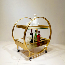 High quality modern royal hotel golden liquor wine mobile bar trolley with wheels