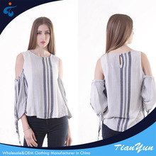 Special cutting oem fashion breathable off shoulder blouse